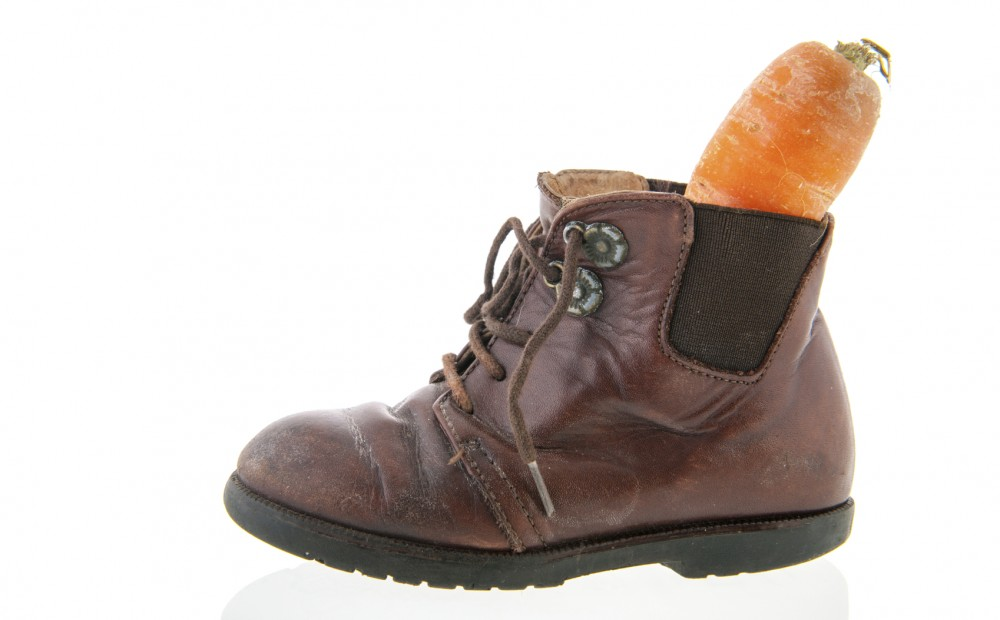 Leather shoe with carrot